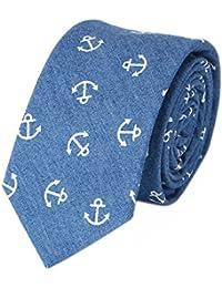 Fish Pattern Blue Anchors Skull Cotton Necktie Skinny Men Ties