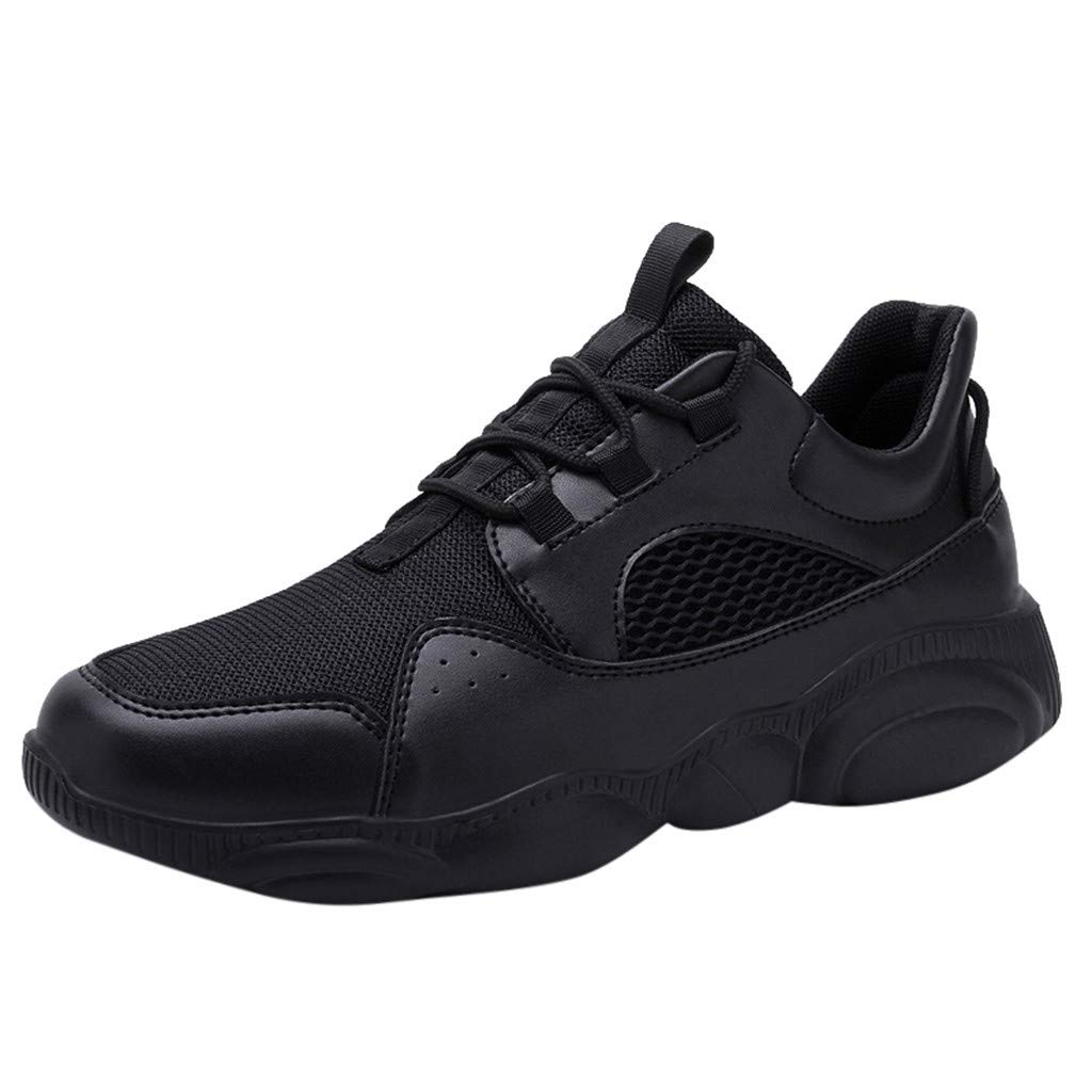 Couple Running Shoes - Casual Wild Mesh Breathable Sneakers Anti-Slip Large Size Lace-up Sport Shoes Black