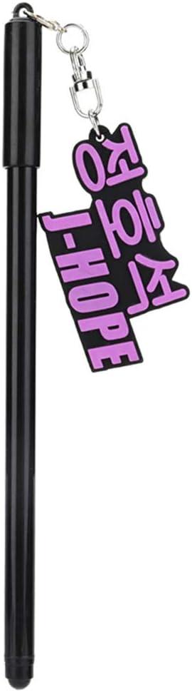 Bestomrogh KPOP BTS BTS BLACKPINK Trois dimensions en Caoutchouc Souple nom Pendentif Gel Stylo Stylo Noir Signature 0,5 mm Fournitures pour les /Étudiants JENNIE