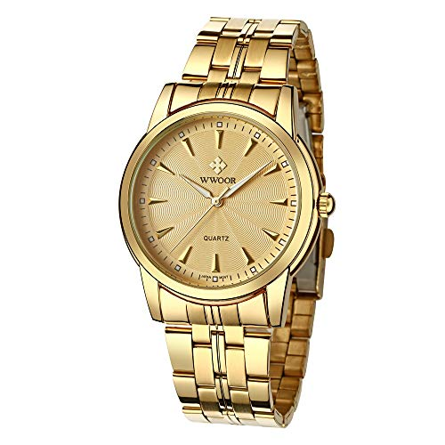 WWOOR Men's Quality Watch Luxury Analog Quartz Business Casual Stainless Steel Fashion Wristwatch Waterproof Watch for Men (Gold) - Gucci Stainless Steel Wrist Watch