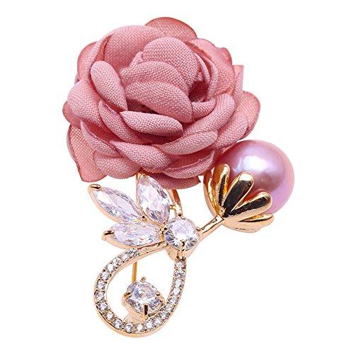 JYX Fine Rose Brooch Lavender Freshwater Pearl Brooch Pin for Wedding