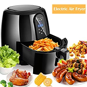 1800W Electric Air Fryer, 5.2L Large Capacity Low-Fat Non-stick Oilless Multi-Function Cooker with Timer and Temperature Control (1800W-5.2L)