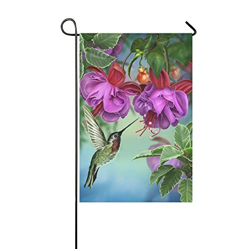 InterestPrint Spring Hummingbird Long Polyester Garden Flag Banner 12 x 18 inch, Tree Branch Fuchsia Flower Decorative Flag for Wedding Anniversary Home Outdoor Garden (Hummingbird Banner)