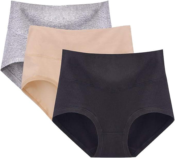 Puimentiua 3/6 Packs Braguitas Culotte Algodón para Mujer Bragas de Cintura Alta Cómodo Ropa Interior: Amazon.es: Ropa y accesorios