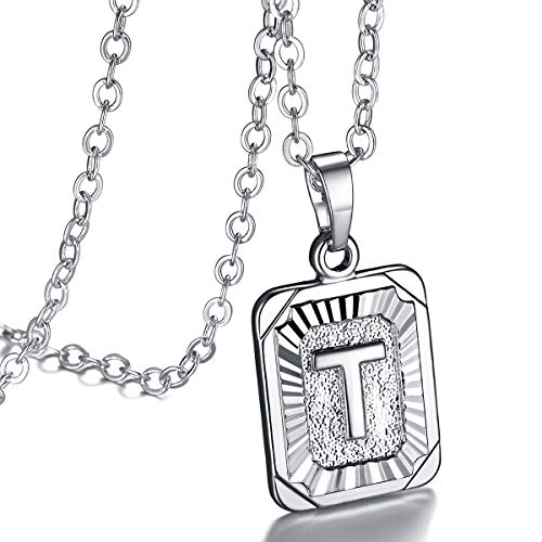 FOCALOOK Monogram Necklace A-Z 26 Letters Pendants Platinum Plated Square Script Initial Jewelry with Stainless Steel 22 Inch Chain, Capital Alphabet Necklaces for Women Girls (Letter T) ()