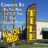 Tile Windless Feather Banner Flag Kit (Flag, Pole, & Ground Mt)
