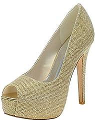 LOSLANDIFEN Womens Sexy Peep Toe Flicker Pumps Hidden Platform High Heels Wedding Bridal Shoes