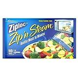 ziplock bags microwave - Ziploc Zip 'N Steam Cooking Bags Medium 10 Bags, 7 1/4