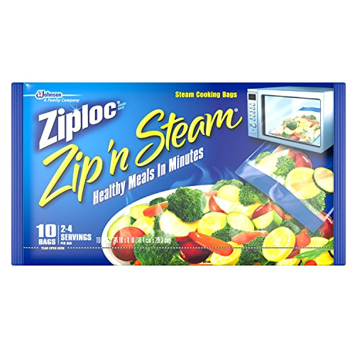 Ziploc Zip 'n Steam Meal Prep Bags, For Cooking and Steaming Food, Microwave Safe, Medium, 10 Count (Pack of 3)