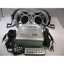 Shark Shkamp5800btmx3080 600 Watt Bluetooth Motorcycle Marine Audio System w/ 3.5 Speakers + Wired / Wireless Remote+antenna Mixed Speakers Chrome