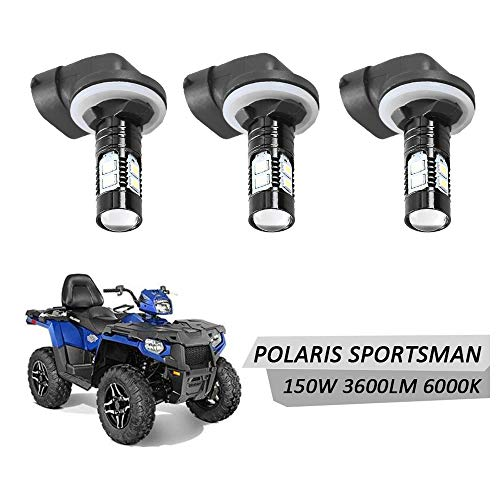 DSparts 3 Pack LED Headlight Bulbs Lamps 150W 6000K 3600LM Super White Color For Polaris Sportsman -
