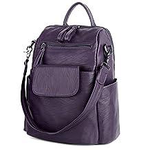 UTO Women Backpack Purse 3 ways PU Washed Leather Ladies Rucksack Shoulder Bag