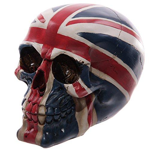 Inveroo Patriot Ornamental Skull Gothic Fantasy UK British Royal Flag Union Jack Skull Head Skeleton Statue Figure Halloween Decorations -