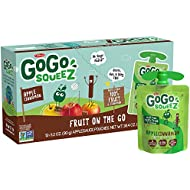 GoGo squeeZ Applesauce, Apple Cinnamon, 3.2 Ounce (12 Pouches), Gluten Free, Vegan Friendly, Unsweetened Applesauce, Recloseable, BPA Free Pouches