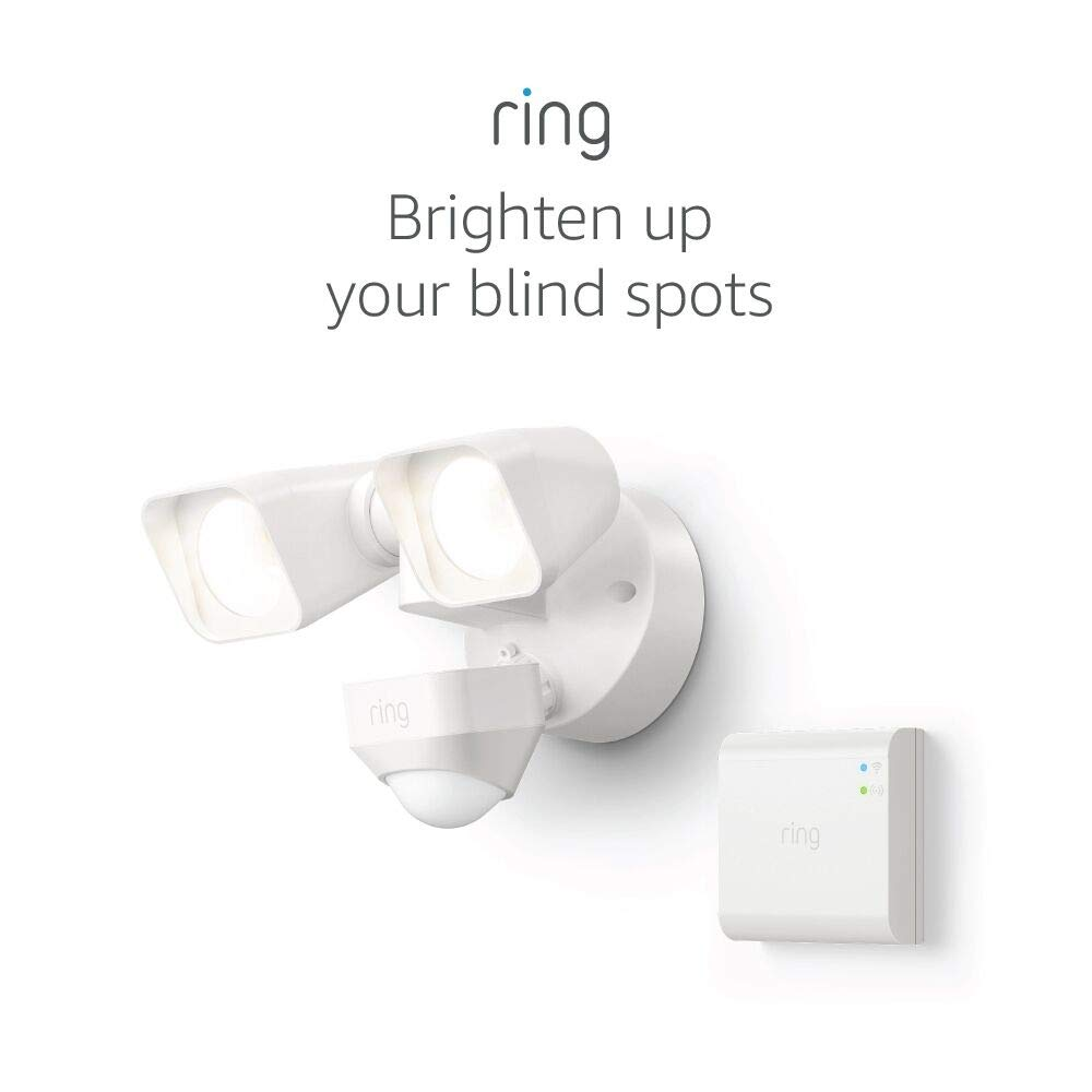 Ring Smart Lighting – Floodlight, Wired, Outdoor Motion-Sensor Security Light, White (Starter Kit)