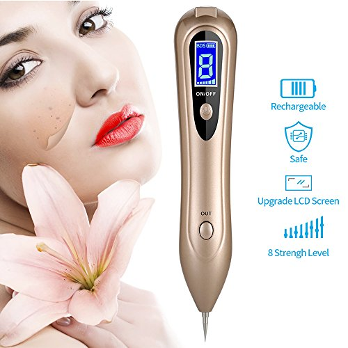 Skin Eraser (Herwiss Mole Remover Machine, Professional Skin Tag Remover Mole Removal Pen, LCD Display Spot Eraser Pro with Newest 8 Gears Adjustable Power & Portable USB Charging)