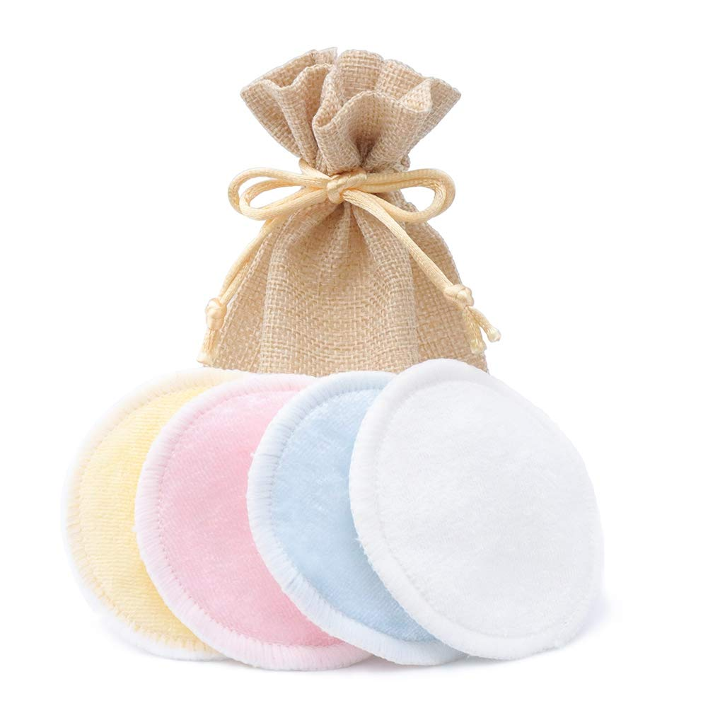 Bamboo Makeup Remover Pads 4PCS With Laundry Bag Reusable Soft Facial And Skin Care Wash Cloth Pads