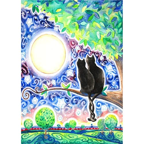 5d Diamond Painting Kits for Adults Kids Full Drill Diamond dotz for Home Wall Decor 12x16inch (Black Cat on Tree and Moon) (Cross Black Cat Stitch)