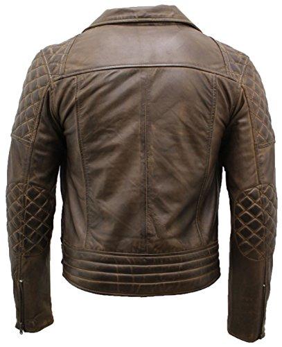 Leather Hombres Los Oliva De Broncearse Chaqueta Claro Cuero Motera Infinity Marrón B7wq1a7x
