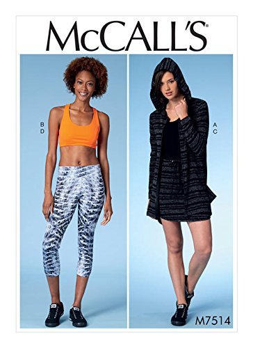 MCCALLS M7514 Misses' Jacket with Hood, Sports Bra, Drawstring Skirt and Leggings (SIZE XS-MED) SEWING PATTERN