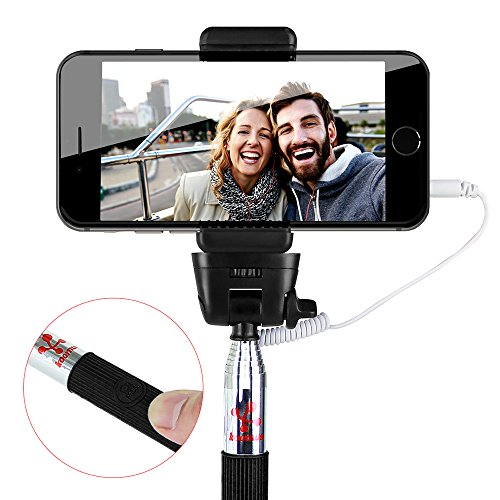 Koomus Selfie Cable Stick Extendable Monopod with built-in Remote Shutter with Adjustable Smartphone Camera Mount Holder for iPhone and Android Mobile Devices (Black)