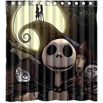Custom Movie The Nightmare Before Christmas Waterproof Bathroom Shower  Curtain Polyester Fabric Shower Curtain Size 66