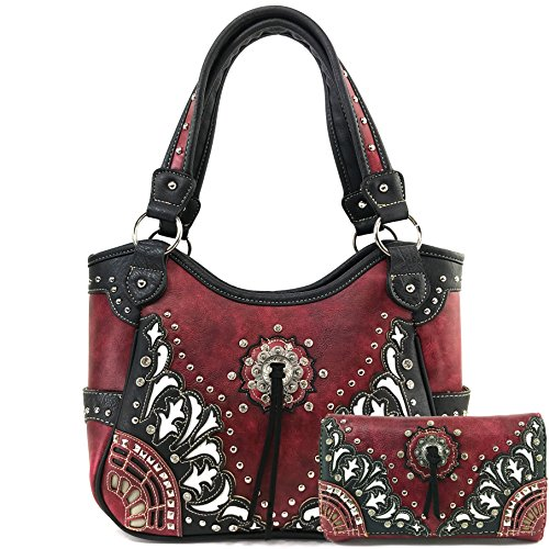 Justin West Tooled Laser Cut Leather Floral Embroidery Rhinestone Buckle Studded Shoulder Concealed Carry Tote Style Handbag Purse (Red Purse and Wallet - Red Justin