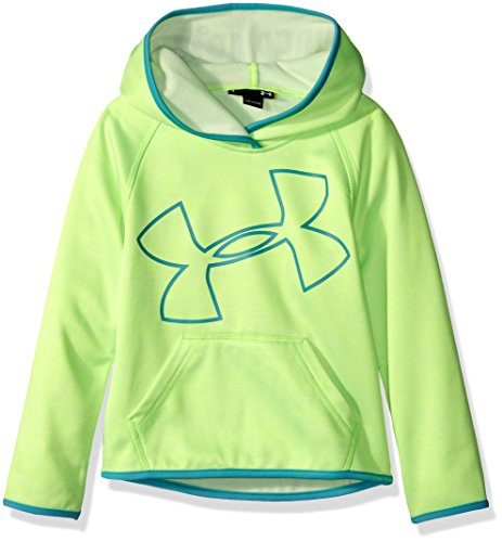 Under Armour Little Girls' UA Logo Hoodie, Lime Light, 5