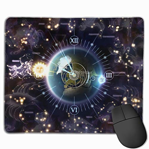Mouse Pad Zodiac Clock 3D Screensaver Rectangle Rubber Mousepad 11.81 X 9.84 Inch Gaming Mouse Pad with Black Lock Edge ()