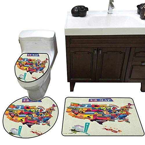 Wanderlust Bath Mat 3 Piece Set US Map Seashore and Sunflowers Tourist Attractions Jersey Cow Milk Corn Field Skidproof Toilet Seat Bathroom Floor Mat Multicolor -