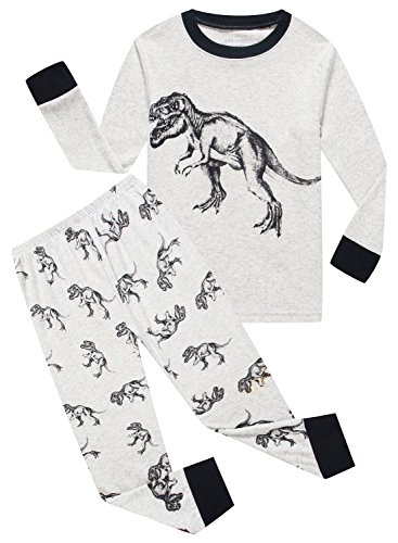 MMII pajamas Dinosaur Little Boys' Cotton Sleeper Pajamas Set 2 Piece Sleepwears Pjs Size 6