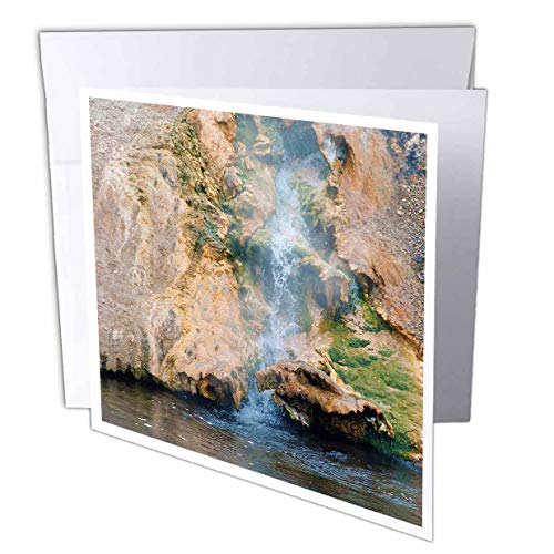 3dRose Jos Fauxtographee- Yellowstone Waterfall - A Small Waterfall in Yellowstone That is hot Going into River - 12 Greeting Cards with envelopes (gc_308207_2)
