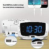 DreamSky Digital Alarm Clock Radio with Dual USB