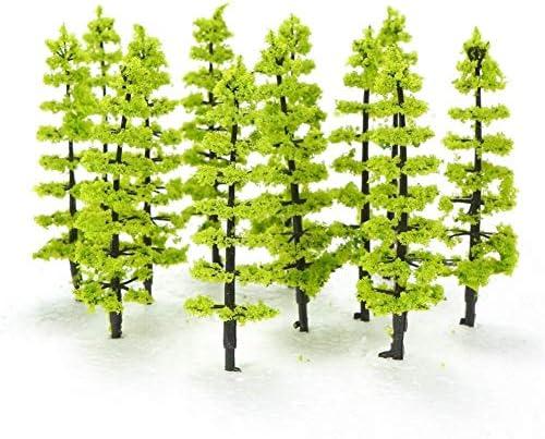 20枚のミニプラスチック緑の木々スケールの建築模型列車の鉄道風景風景レイアウトの庭の装飾の木のおもちゃスケール:1/100