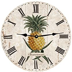 Lionkin8 Pineapple Wall Clock Decorative Round Novelty Printed Wood Clock - 12 inch
