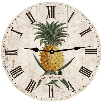 (Lionkin8 Pineapple Wall Clock Decorative Round Novelty Printed Wood Clock - 12 inch)
