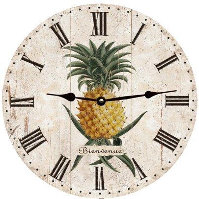 - Lionkin8 Pineapple Wall Clock Decorative Round Novelty Printed Wood Clock - 12 inch