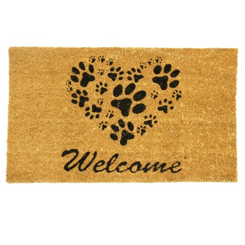 Shaped Door Mat Rug - Rubber-Cal 24-Inch-by-57-Inch Heart-Shaped Paws Welcome Mat