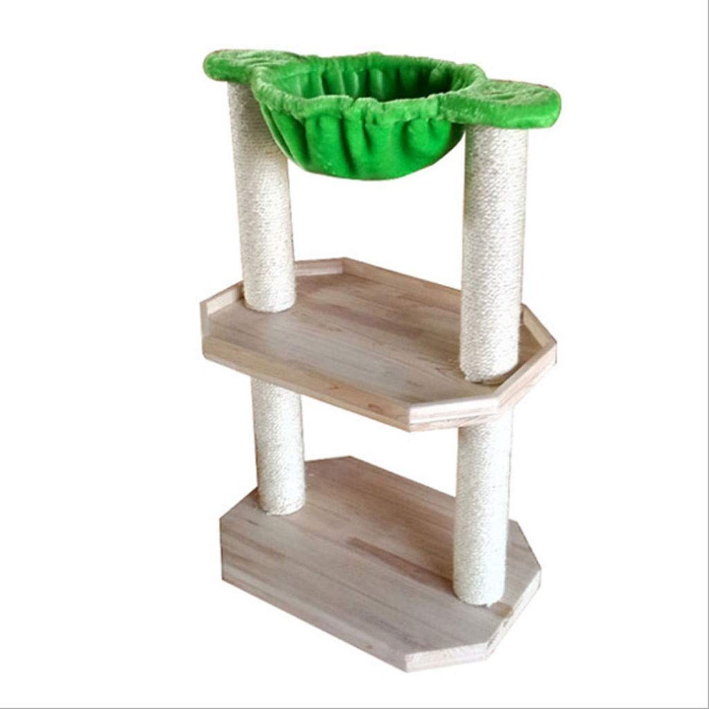 Cat Tree Solid Wood Cat Climbing Frame Small Cat Jumping Platform Sisal Cat Grabbing Column Creative Cat Nest Plush Cat Hanging Bed