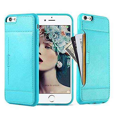ZVE Wallet Case for Apple iPhone 6s Plus and iPhone 6 Plus, 5.5 inch, Slim Leather Wallet Case with Credit Card Holder Slot Pocket Protective Case Cover for Apple iPhone 6 / 6s Plus - Mint Green