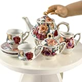 "The Queen's Treasures 18"" Doll Antique Rose Fine China Service for Two Tea Set, Kitchen Dish Accessory Tea Party Accessory for American Girl Doll Furniture and Accessories"