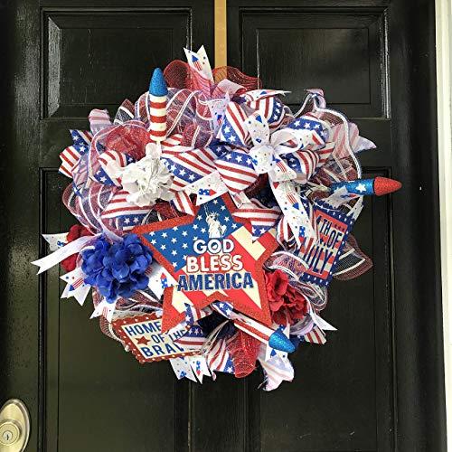 Patriotic Front Door Wreath, Independence Day Wreath, 4th of July Deco Mesh Wreath, Patriotic Wreath for Front Door, Fireworks Wreath