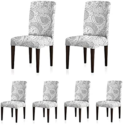 Hotel ColorBird Buffalo Check Spandex Chair Slipcovers Removable Universal Stretch Elastic Gingham Chair Protector Covers for Dining Room Restaurant Black//White Plaid Banquet Ceremony Set of 6