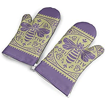 Bee Oven Mitts,Professional Heat Resistant Microwave Oven Insulation Thickening Gloves Baking Pot Mittens Soft Inner Lining Kitchen Cooking