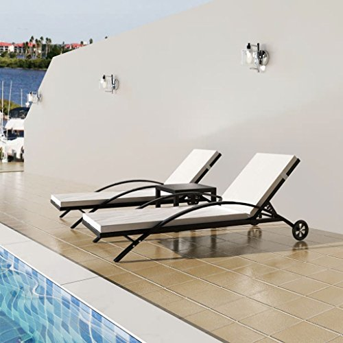 3 Pcs Outdoor Pool Chaise Lounge Chair Set, 2 Sun Loungers Adjustable + 1 Table Outdoor Furniture Rattan for Pool Patio Beach Backyard (Lounge 1 2)