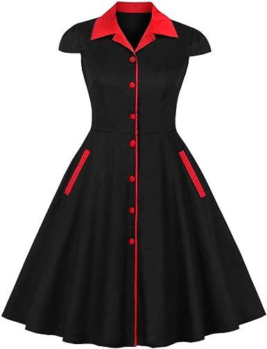 DISSA M1729 - Vestido de Manga Corta para Mujer, Estilo Retro, Estilo Rockabilly: Amazon.es: Ropa y accesorios