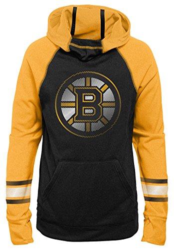 Outerstuff NHL Boston Bruins Youth Girls Female Forward Funnel Neck Hoodie, Medium(10-12), Black