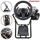 upshop1st Racing Wheel Stand fit for Logitech G25/G27/G29/G920 Most Thrustmaster Gaming Steering Wheel, Xbox360/One, Playstation, PC Platforms, Foldable & Height Adjustable for Racing Console (Color: black)