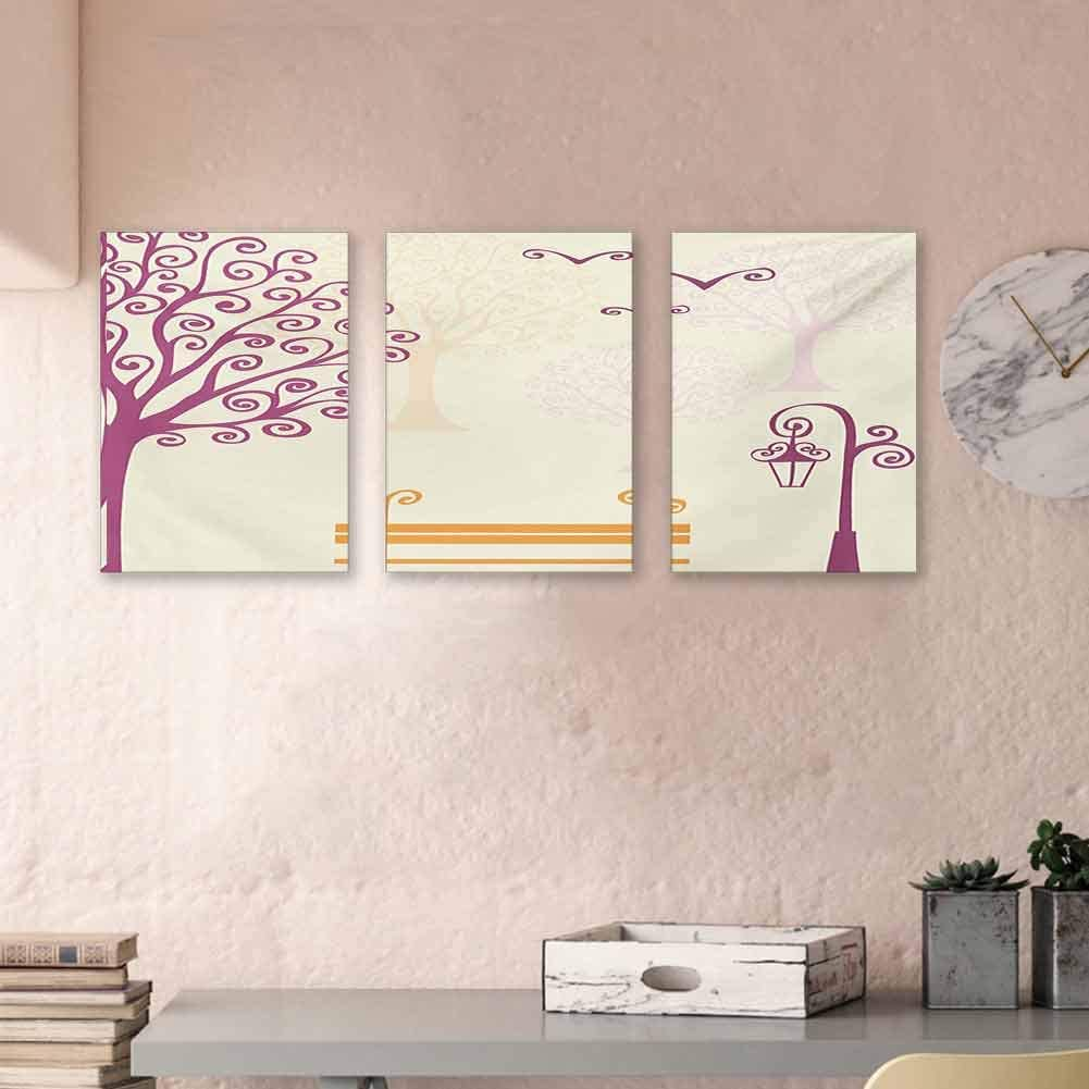 "MartinDecor Nature Oil Canvas Painting Pastel Color Nature Picture Curvy Lines Seagulls Bench and Tree Silhouettes Park Canvas Wall Art Artwork Ready to Hang, 24""x47""x3 Piece Orange Purple"