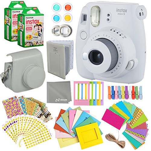 Fujifilm Instax Mini 9 Smokey White Instant Camera Kit – 40 Film Sheets, Carrying Case, Photo Album, Assorted Frames, Stickers and Accessories – Built-in Flash and Batteries Included